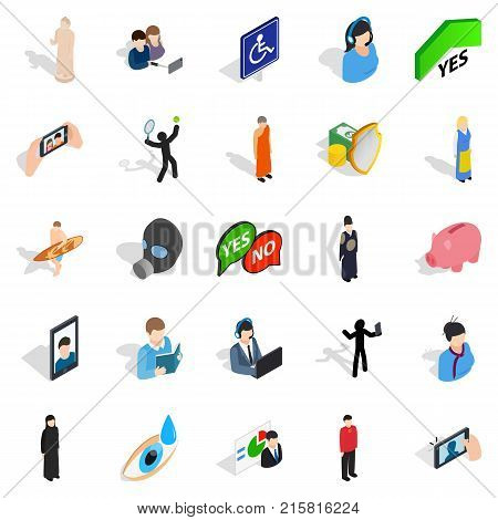 Improved body icons set. Isometric set of 25 improved body vector icons for web isolated on white background
