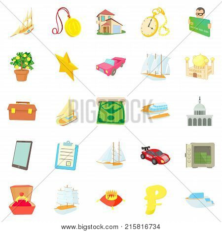 Major investment icons set. Cartoon set of 25 major investment vector icons for web isolated on white background