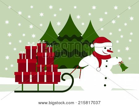 vector snowman ringing bell and pulling sledge with gifts in snowy landscape