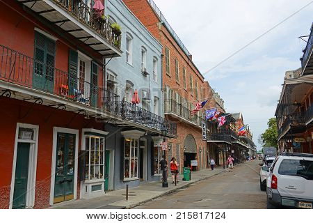 NEW ORLEANS - MAY. 29, 2017: Historic Buildings on St Ann Street between Chartres Street and Royal Street in French Quarter in New Orleans, Louisiana, USA.