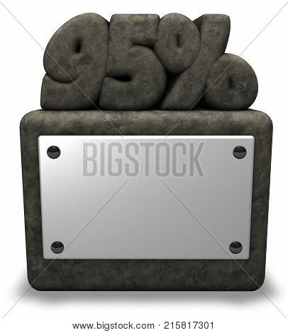 stone number ninety-five and percent symbol on stone socket - 3d rendering