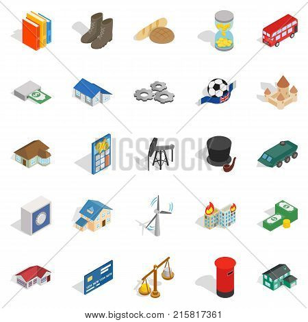 Investing in business icons set. Isometric set of 25 investing in business vector icons for web isolated on white background
