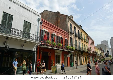 NEW ORLEANS - MAY. 29, 2017: Historic Buildings on Royal Street between Toulouse Street and St Peter Street in French Quarter in New Orleans, Louisiana, USA.