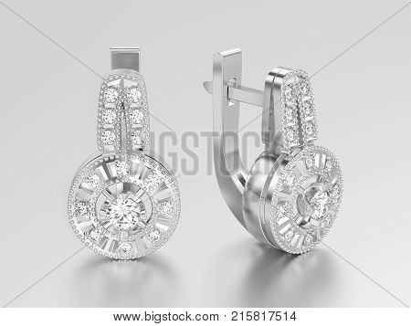 3D illustration isolated white gold or silver decorative diamond earrings with hinged lock on a grey background