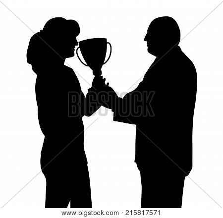 Female winner receiving trophy from president director or sponsor