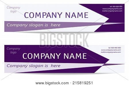 Banner Templates set in bright purple. Two Business Headers. Creative Modern Reverse Design. Layout for web banners business cards promotion advertising marketing. Vector EPS10 illustration