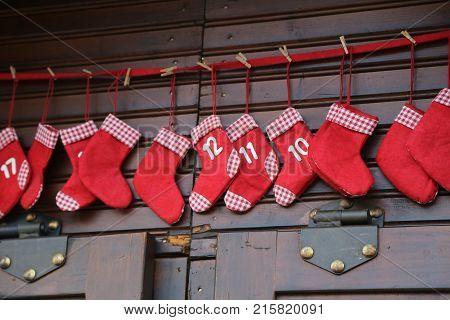 Advent  ,  Advent calendar made of socks .