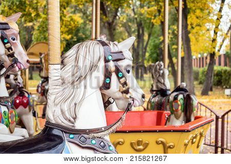 A merry-round-go Carousel Horse close up in Autumn park. Old wooden Retro carousel white horse. carnival cheerful walk. CloseUp of colorful carousel (roundabout) with horses.
