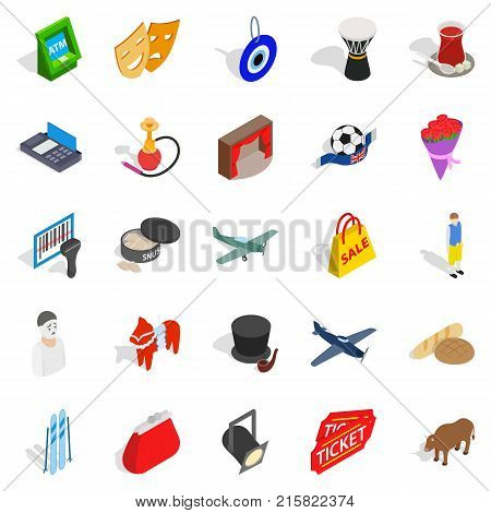 Bound icons set. Isometric set of 25 bound vector icons for web isolated on white background