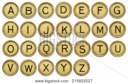 English alphabet set  in old round typewriter keys isolated on white with digital painting filter applied