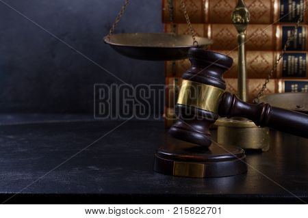 Law and justice concept - law gavel with scale and books with copy space