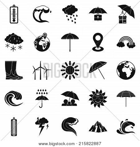 Climate icons set. Simple set of 25 climate vector icons for web isolated on white background