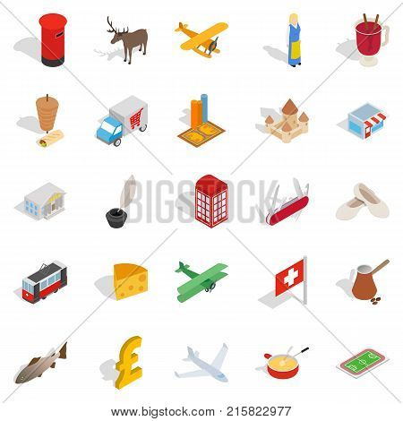 Borderline icons set. Isometric set of 25 borderline vector icons for web isolated on white background