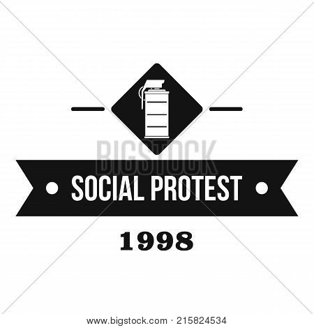 Protester gas grenade logo. Simple illustration of protester gas grenade vector logo for web