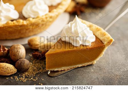 Sweet pumpkin pie slice decorated with whipped cream