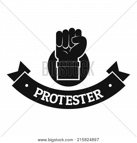 Protester hand logo. Simple illustration of protester hand vector logo for web