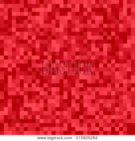 Geometrical abstract pixel square mosaic background - vector design from squares in red tones