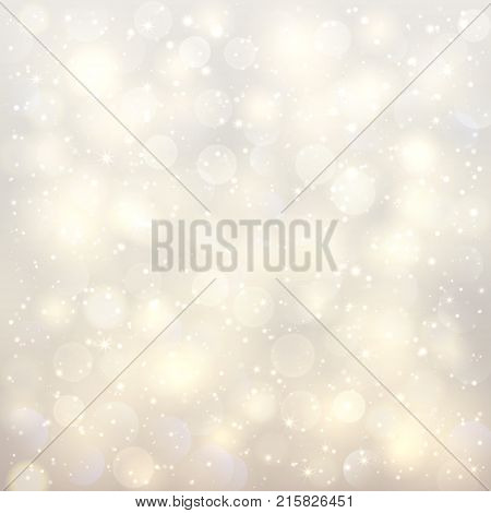 Abstract Christmas Blurred Shining Bokeh Background. Festive Unfocused Realistic Light Effect.