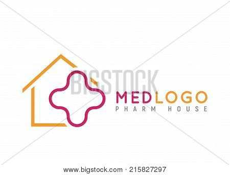 Health medical isolated logo. Monoline cross in house vector illustration on white background