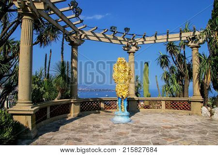 Monaco - July 11: Golden Statue At The Terrace In Botanical Garden On July 11, 2015 In Les Revories