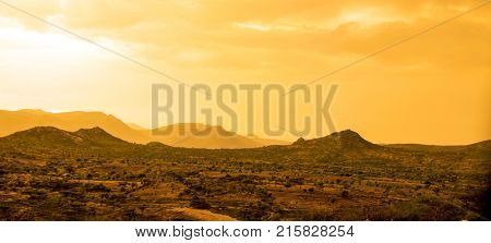 Desert and mountains in the desert near the Ethiopia, Somalia, Djibouti border.
