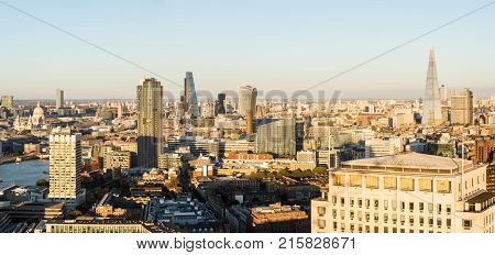 LONDON, UK - OCTOBER 1, 2015: Aerial panorama of many modern buildings in the City of London taken from Westminster, London, England