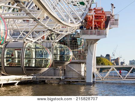 Detail of London Eye  on South Bank of River Thames in London England