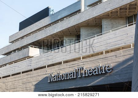 LONDON, UK - OCTOBER 1, 2015: Entrance to Royal National Theatre on South Bank of River Thames in London, England