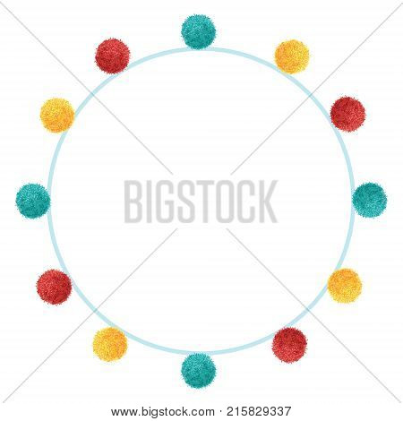 Vector Fun Colorful Vibrant Birthday Party Pom Poms Circle Set and Round Frame. Great for handmade cards, invitations, wallpaper, packaging, nursery designs. Home decor elements.