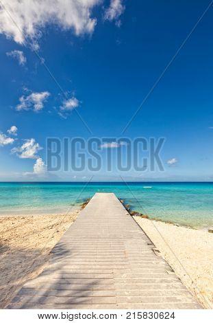 Jetty at Caribbean Sea beach of Curacao