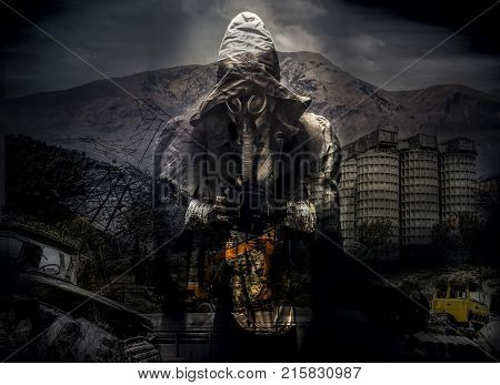 creative dark poster of a man in gas mask with apocalyptic disaster on background apokalypse day. survival in tha hood
