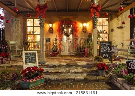 SAN ANTONIO, TEXAS - NOVEMBER 27, 2017 - view of shop entrance decorated for Christmas