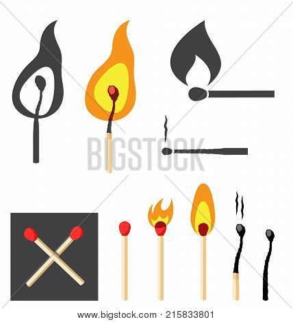 Burning Matches. Vector Illustration Set Of Unburnt Burning And Burnt Out Matches.