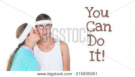 Digital composite of You can do it text and fitness couple