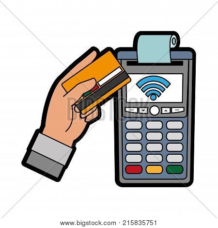 Dataphone and credit card of shopping commerce and market theme Isolated design Vector illustration