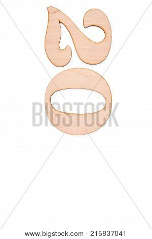 Decorative wooden number two and zero. Carved wooden two and zero digit symbol and copy space, white background. New Year concept.