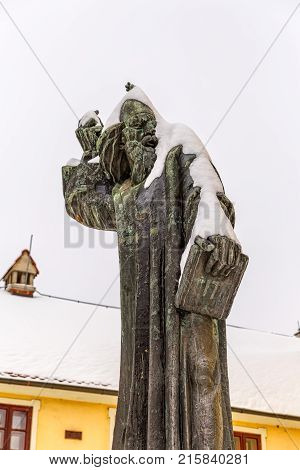 VARAZDIN, CROATIA - FEBRUARY 07, 2015 Varazdin Gregory from Nin statue is the work of famous sculptor Ivan Mestrovic.