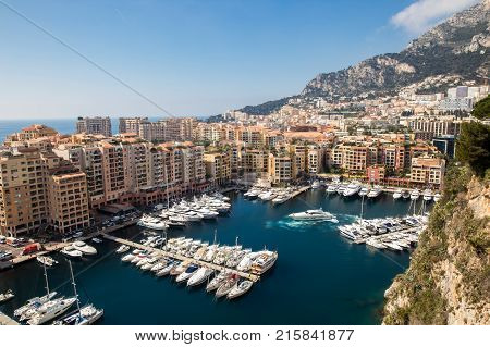 Panoramic view of Port de Fontvieille in Monaco. Azur coast. Luxury yachts in Monte Carlo.