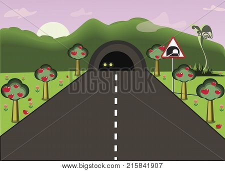 Car's headlamps shining in the tunnel. Road going through the tunnel. Flat vector illustration of cartoon road landscape.