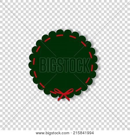 Deep green round stamp with red ribbon in paper cut out style isolated on transparent background. Vector illustration template with space for text.