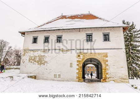 VARAZDIN, CROATIA - FEBRUARY 07, 2015 Varazdin Watchtower museum in winter time, one of the most important tourist centers of northern Croatia.