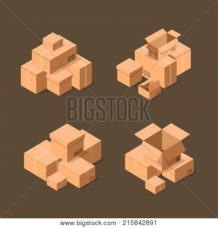 Delivery packaging boxes isometric icons set. Postal design with empty opened and closed cardboard boxes vector illustration. Commercial delivery tare, goods package, shipping containers symbol.