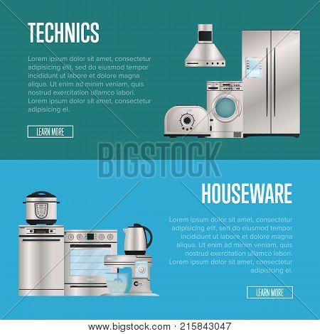 Kitchen electronic houseware technics retail posters. Refrigerator, washing machine, toaster, electric kettle, air extractor, oven, multi cooker, kitchen mixer. Automatic household devices shopping.