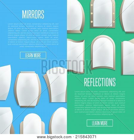 Home furniture posters with decorative wall mirrors. Different realistic elegant mirrors in frames vector illustration. House or bathroom modern interior decoration, apartment design banner.