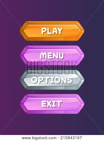 Game user interface in cartoon style. Play, menu, options and exit cartoon buttons, options selection windows panel. Bright game design isolated vector illustration