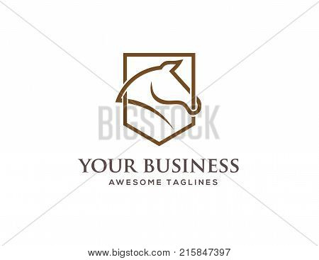 abstract lines Horse head shield logo on White background, Horse head profile graphic logo  Abstract triangle and 3d square vector ate, Stylish horse head outline for stable, farm, race logo design