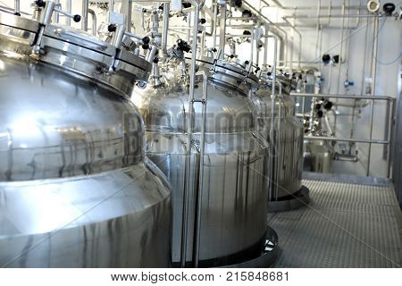 Reactors Of Suspensions And Solutions. Manufacture Of Pharmaceutical Industry. Production Of Suspens
