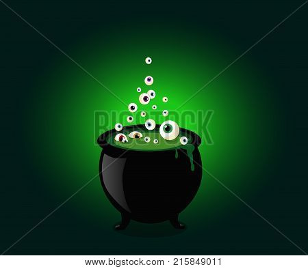 Halloween Witch Cauldron With Bubbling Green Goo And Boiling Eye