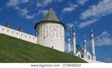 Kazan Kremlin and Qol Sharif mosque sunny summer day
