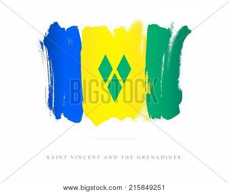 Flag of Saint Vincent and the Grenadines. Vector illustration on white background. Beautiful brush strokes. Abstract concept. Elements for design.